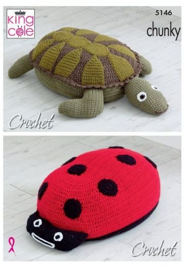 King Cole Crochet Pattern Ladybird and Turtle Poof in Chunky yarn, 5146
